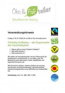 Flyer zu Fairtrade-Veranstaltung