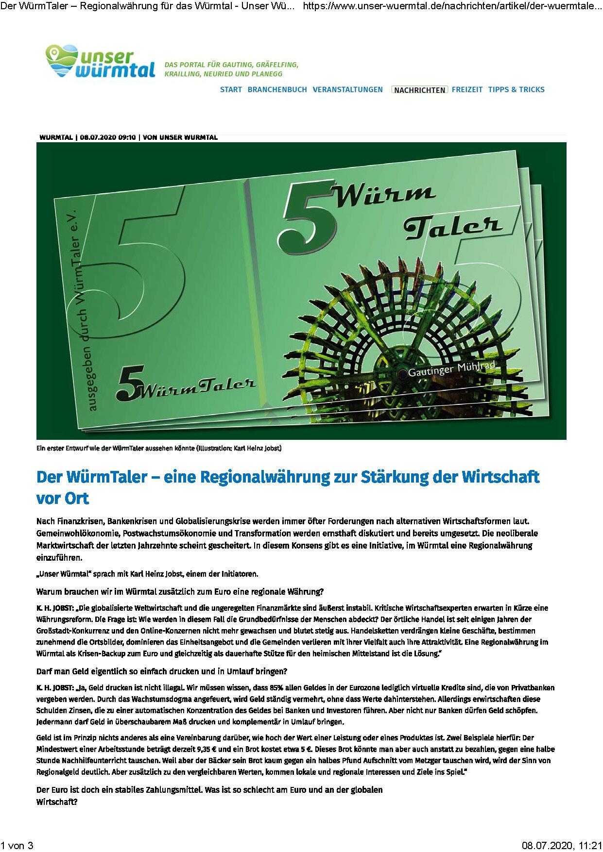 Seiten aus Der WürmTaler – Regionalwährung für das Würmtal - Unser Würmtal
