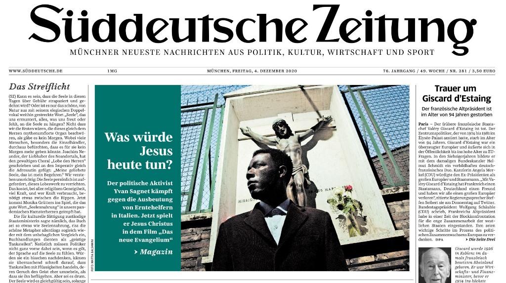 """Unser Freund """"Jesus"""" Yvan Sagnet auf der Titelseite der SZ und im SZ-Magazin"""